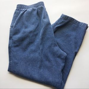 Vintage 100% Cotton Navy Pants, Stretchy Waist